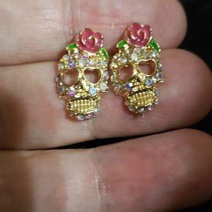 NWT She Skull earrings by Betsey Johnson